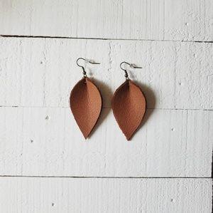 2 Inch | Brown Petal Leather Earrings